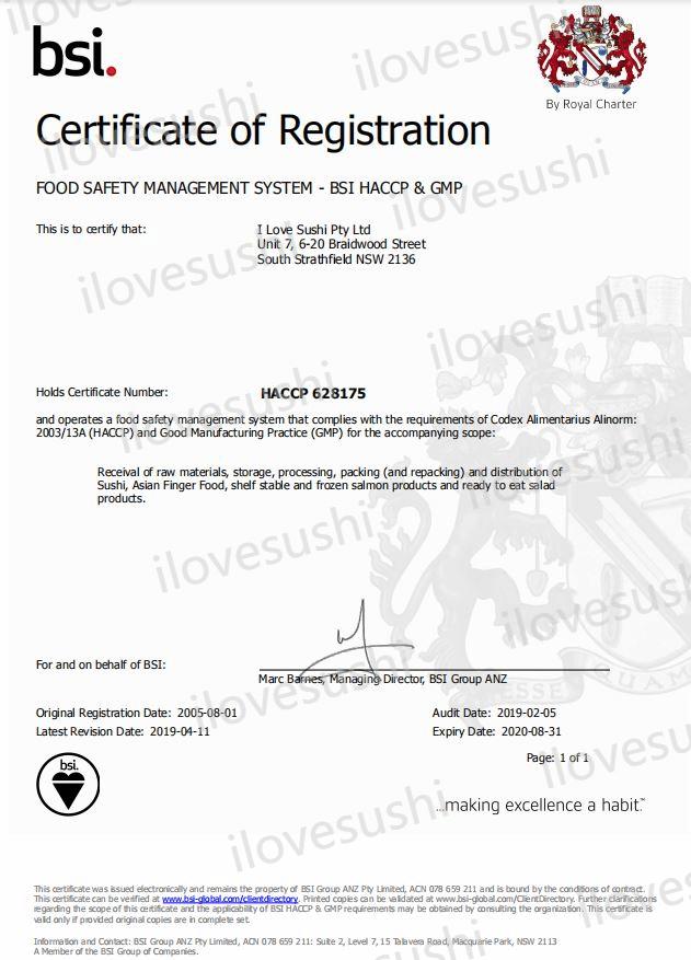 ilovesushi HACCP certificate