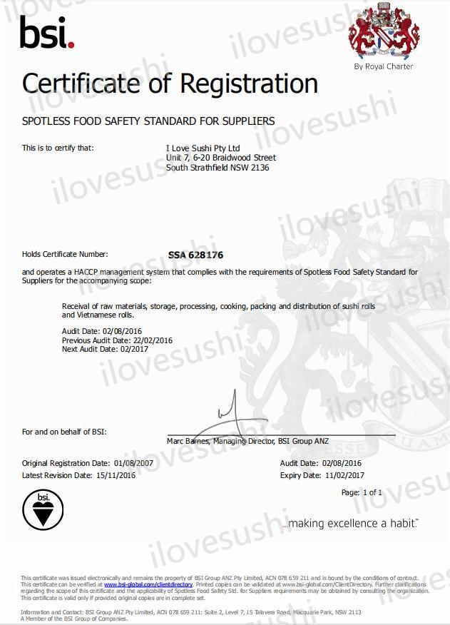 ilovesushi SSA certificate